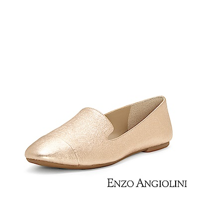 ENZO ANGIOLINI--簡約素面樂福平底鞋-玫瑰金