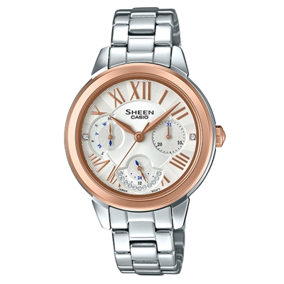 SHEEN優雅迷人風采羅馬數字時刻腕錶(SHE-3059SG-7)玫瑰金框X白41.3mm