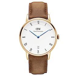 DW Daniel Wellington 淺棕腕錶-金框/34mm(DW00100113)