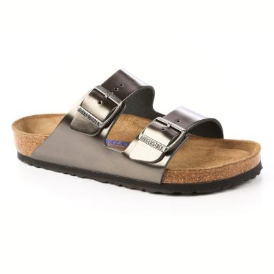 勃肯BIRKENSTOCK 1000292。亞利桑那經典二條拖鞋(鐵灰金)