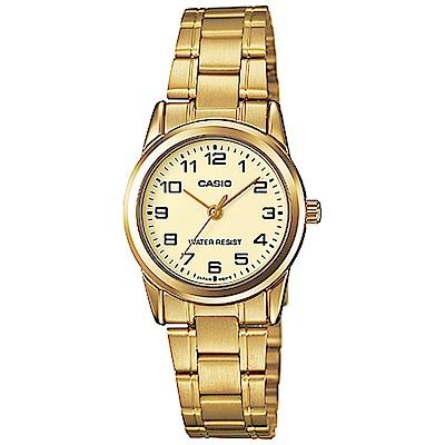 CASIO 經典復古時尚簡約巧小指針腕錶-金色(LTP-V001G-9)/25mm