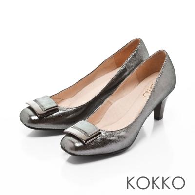 KOKKO-女紳金屬扣方頭真皮高跟鞋-科技銀