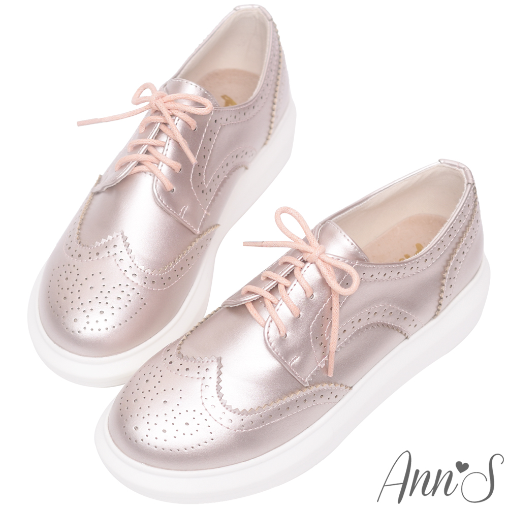 Ann'S牛津雕花綁帶極輕厚底鞋-玫瑰金