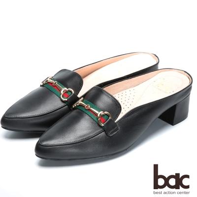 bac流行時尚 經典造型後空跟鞋-黑色