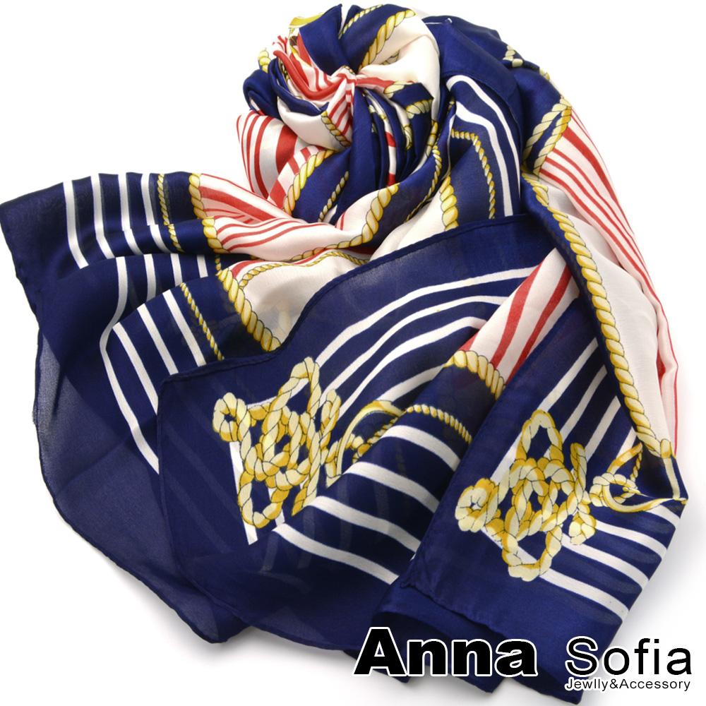 AnnaSofia 航海舵錨 亮緞面仿絲披肩絲巾圍巾(深藍系)