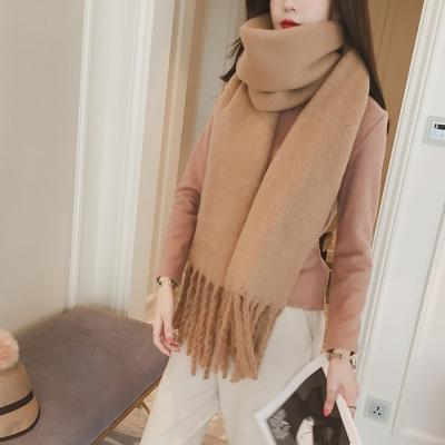 梨花HaNA-韓國冬日暖陽純色優雅長流蘇羊絨超厚長圍巾摩卡