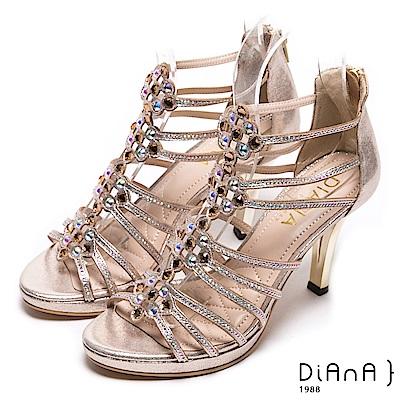 DIANA 星辰閃耀--時尚線條水鑽華麗涼跟鞋-香檳金