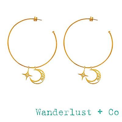Wanderlust+Co 澳洲品牌 大C金色圓形耳環 星星月亮耳環 CELESTIAL
