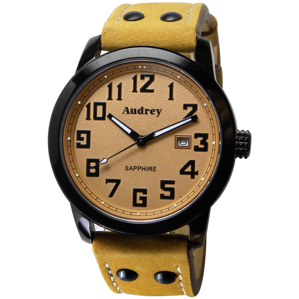Audrey 歐德利 世界飛行 質感簡約風格腕錶(AUM5655)-咖啡/41mm