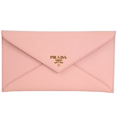 PRADA-金字信封造型防刮牛皮長夾-手拿包-粉色