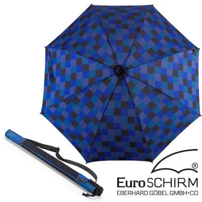 【德國 EuroSCHIRM】BIRDIEPAL 戶外專用風暴傘(指北針)_方格黑藍