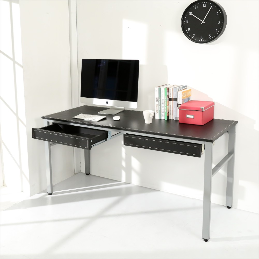 百嘉美 仿馬鞍皮低甲醛160公分雙抽屜穩重型工作桌-DIY