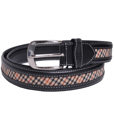 DAKS 經典品牌格紋LOGO防刮牛皮穿式皮帶(黑色)