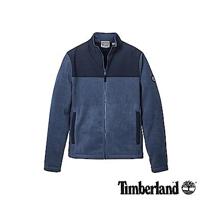 Timberland 男款深丹寧色異材質拼接刷毛外套