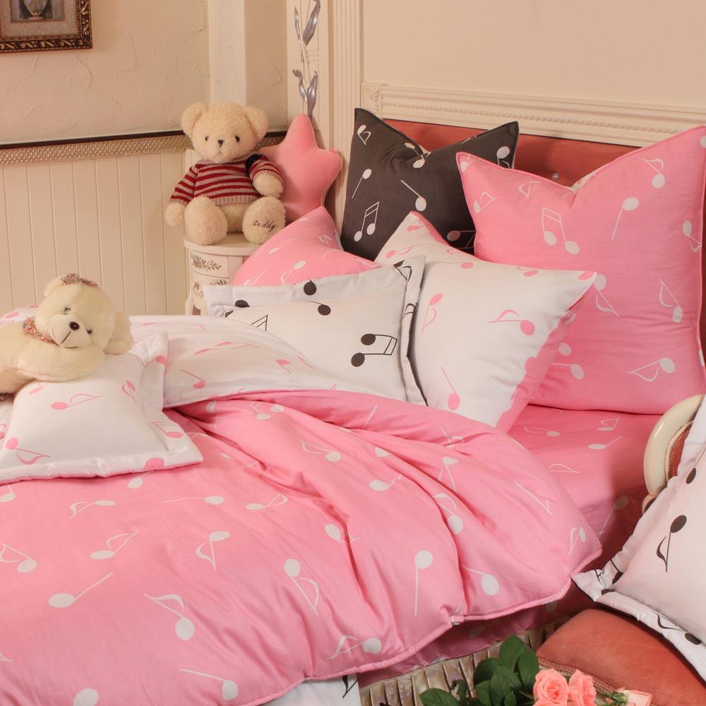 義大利Fancy Belle 音符戀曲-粉 雙人純棉床包枕套組