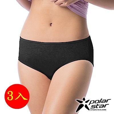 PolarStar 女 排汗快乾三角 中腰內褲『黑』(3件組) P17328