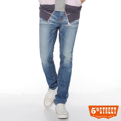 5th STREET 沉穩粗曠 1965窄直筒牛仔褲-男款(拔淺藍)