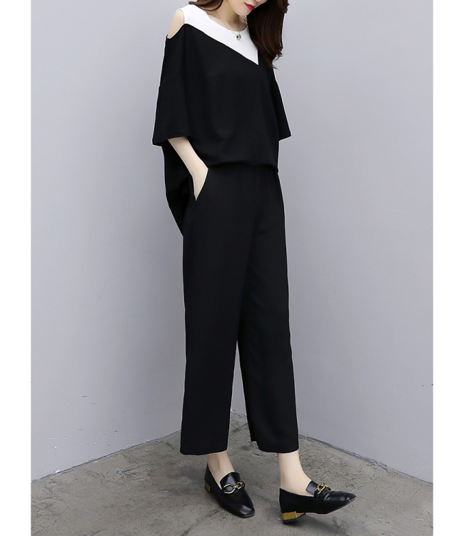 中大尺碼配色斜領露肩前短後長上衣黑色闊腿褲XL~4L-Ballet Dolly