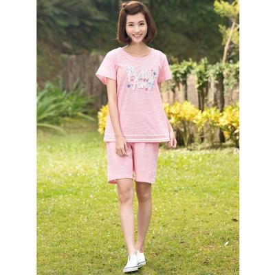 華歌爾睡衣Pretty Amy 印花 M-L 短袖五分褲家居服(甜美粉)