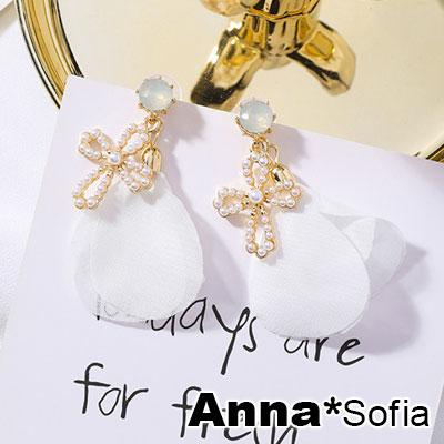 AnnaSofia 清新柔瓣十字珠墬 925銀針耳針耳環(金系)