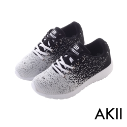 AKII韓國空運-韓國空運飛線編織內增高6公分休閒鞋-白黑