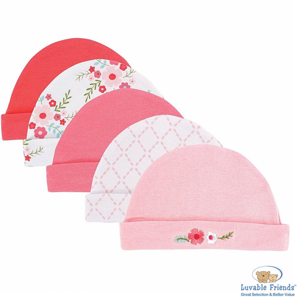 Luvable Friends 粉色菱格花卉棉帽5件組