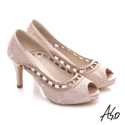 A.S.O 甜蜜樂章 蕾絲縷空魚口跟鞋 粉橘