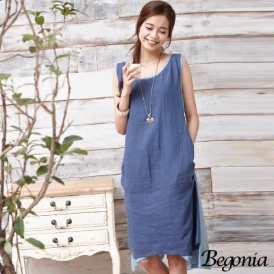 Begonia 配色抓皺拼接不規則擺無袖洋裝(共二色)