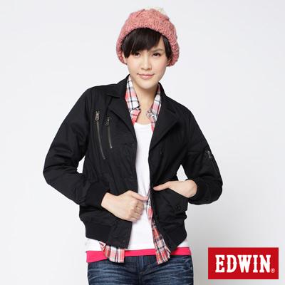 EDWIN-帥性西裝領防寒夾克-女款-黑色