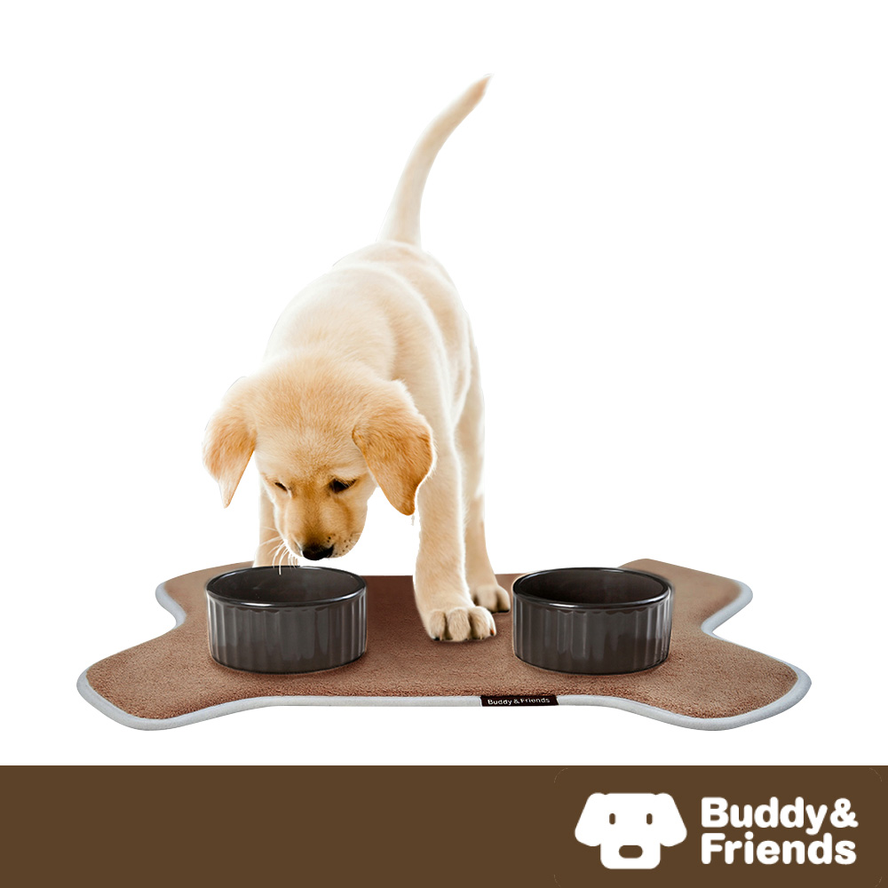 【Buddy&Friends】寵物造型用餐墊 淺咖啡 (36x51cm)