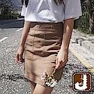 正韓 甜美腰身純色A字短裙-(米色)100%Korea Jeans