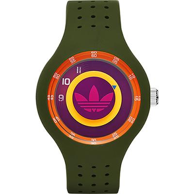 adidas Originals 同心圓趣味腕錶-綠/42mm