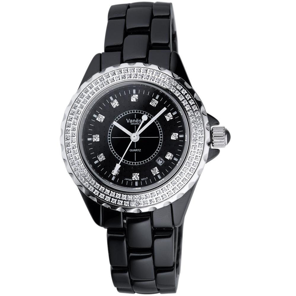 Vaness 珍愛奢華光采晶鑽陶瓷腕錶-黑/35mm