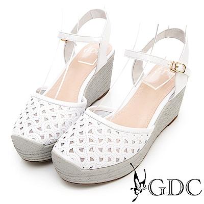 GDC-真皮楔型厚底日雜基本簍空涼鞋-白色