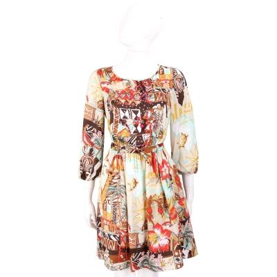 BLUGIRL 咖棕色多彩印花圖騰七分燈籠袖洋裝(附綁帶)