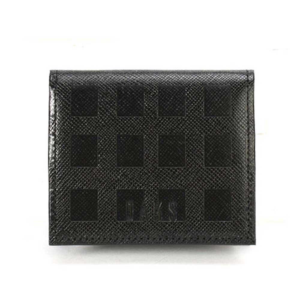 DAKS 經典立體正格紋全皮零錢包-黑