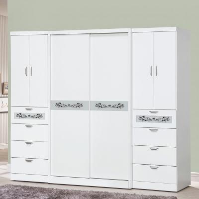 Bernice-8尺白色八抽推門衣櫃-240x60x198cm
