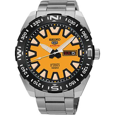SEIKO 精工5號盾牌賽車機械錶(SRP745J1)-黃/45mm