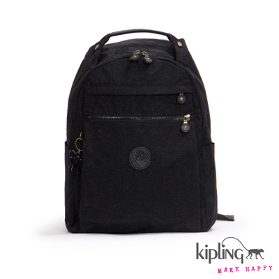 Kipling-後背包-質感黑紋理素面