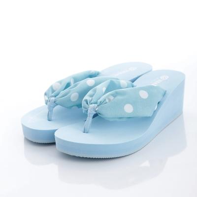 WAVE3【女】糖果點點厚底人字夾腳拖~水藍