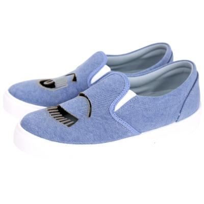 Chiara Ferragni Flirting 牛仔丹寧簍空眨眼厚底休閒鞋(藍色)