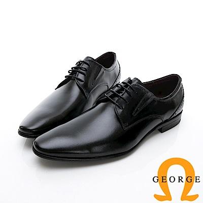 GEORGE 喬治-商務系列 綁帶經典素面紳士皮鞋-黑