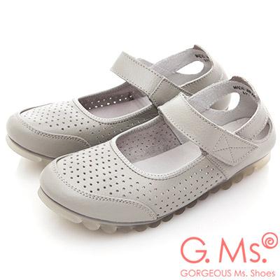 G.Ms. 牛皮洞洞魔鬼氈繫帶休閒鞋-灰色