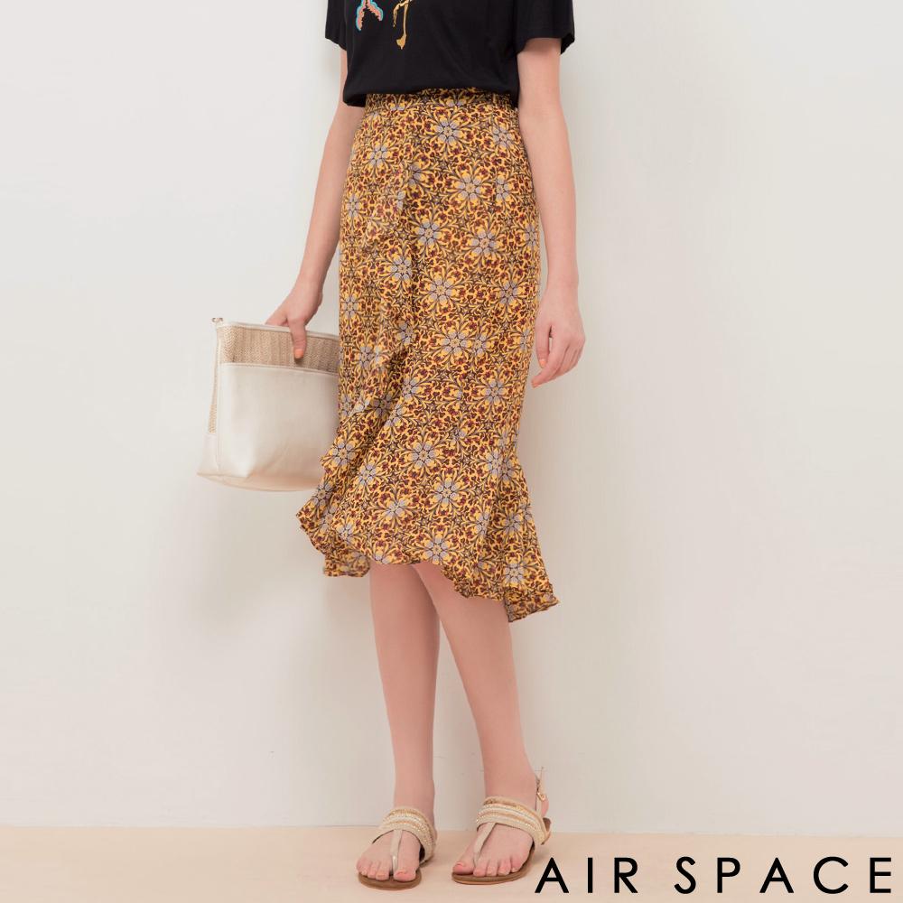 AIR SPACE不對稱魚尾裙襬雪紡花長裙黃