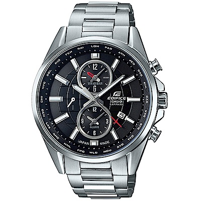 EDIFICE 經典時尚大錶黑面不鏽鋼腕錶-(EFB-302JD-1A)黑面/43.8mm