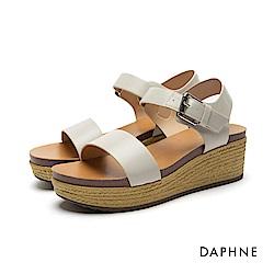 達芙妮DAPHNE 涼鞋-草編紋鞋底一字中跟楔型涼鞋-米白