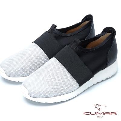 CUMAR時尚混搭異材質搭配超輕休閒鞋-淺灰