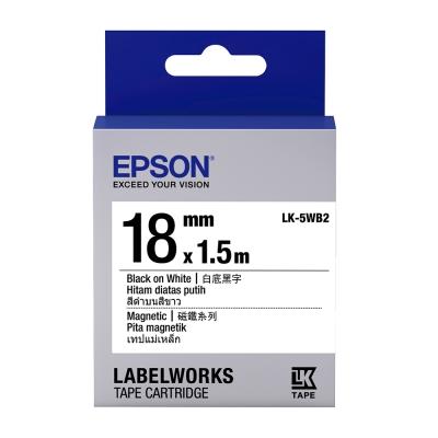 EPSON C53S655418 LK-5WB2磁鐵系列白底黑字標籤帶(寬度18mm)