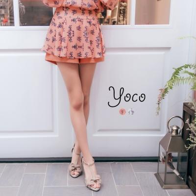 東京著衣-yoco 小貴族花朵印花開衩褲裙-S.M.L(共二色)