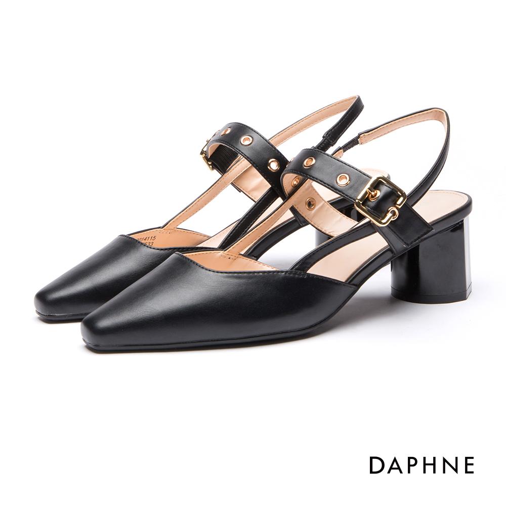 達芙妮DAPHNE跟鞋-釦帶方頭粗跟瑪莉珍鞋-黑
